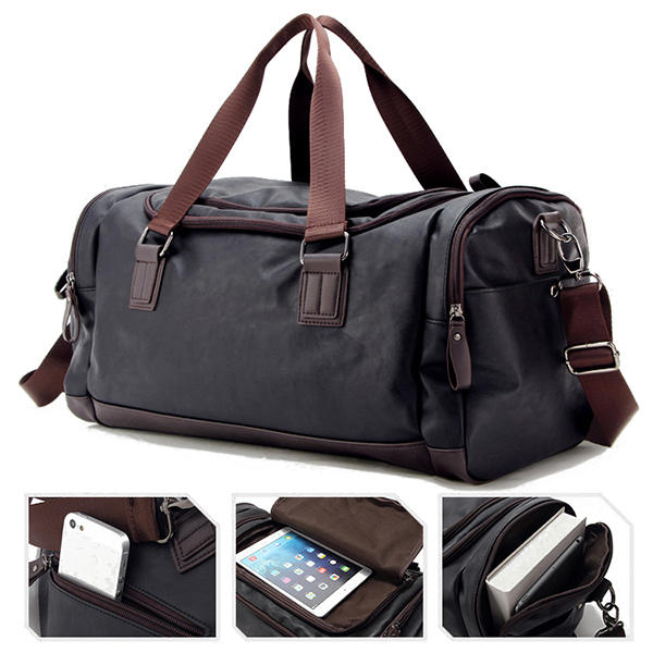 Men Faux Leather Leisure Gym Bag Large Capacity Handbag Travel