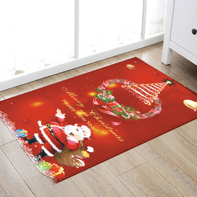 3D Christmas Santa Claus Anti-slip Kitchen Room Floor Mat Flannel Carpet Rug
