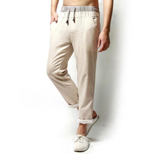 लिनन ठोस रंग आरामदायक लूज पुरुषों लंबे पतलून फ्लेक्स अवकाश पैंट