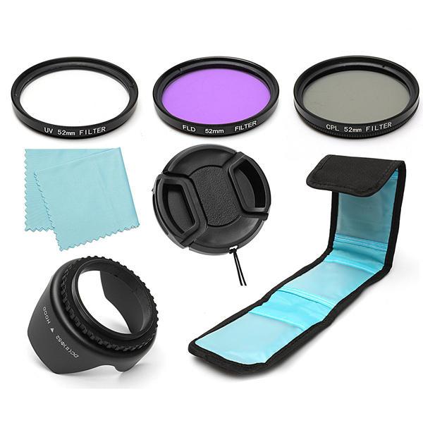 7 Pcs 52mm UV CPL Lensa Polarisasi FLD Filter Hood Kit Untuk Kamera Canon Nikon