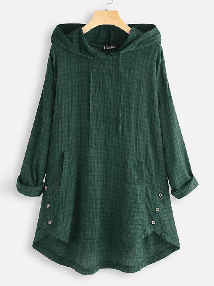 Plus Size Women Plaid Print Asymmetrical Casual Hooded Blouse