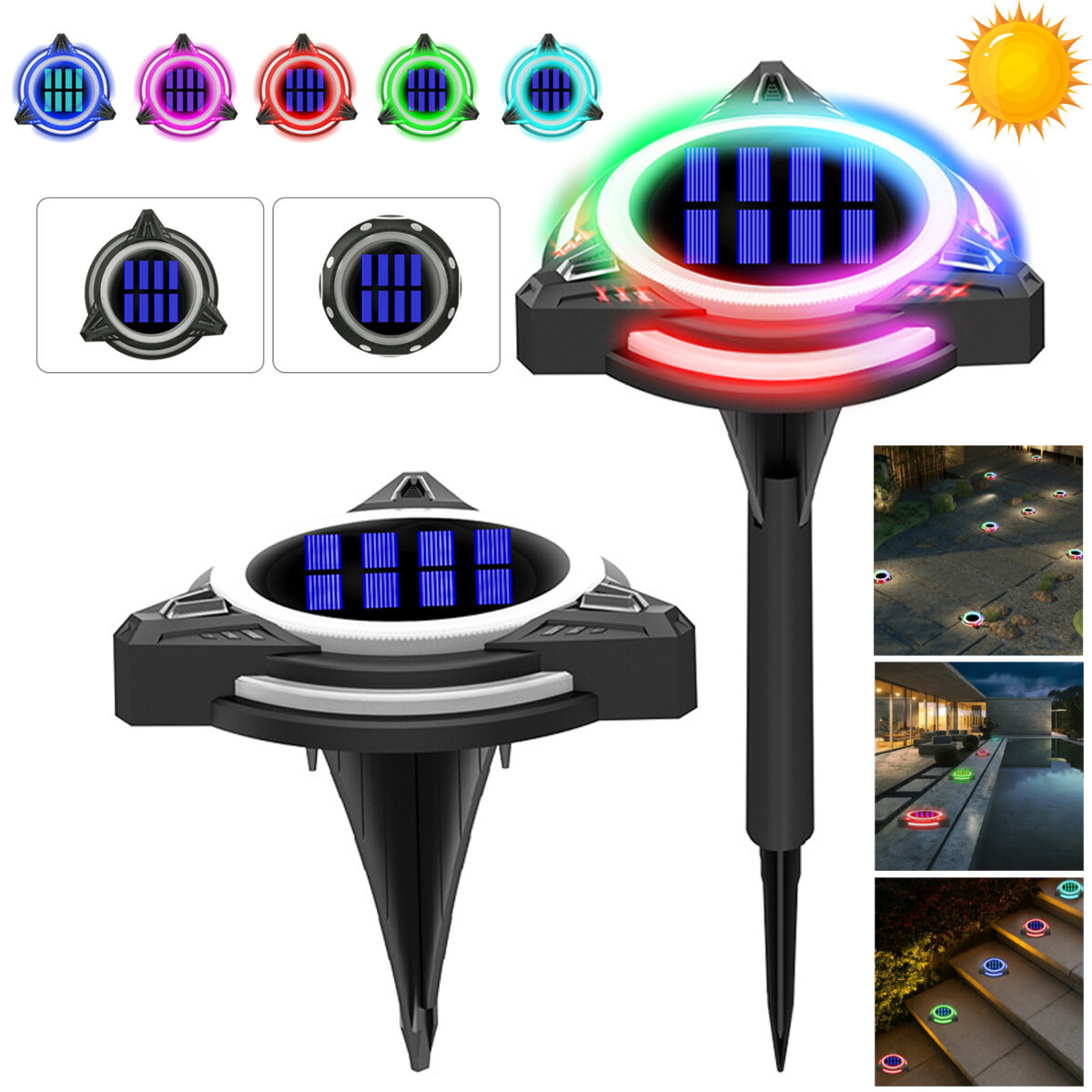 8/10 LED Solar Power Disk Light Buried Light Outdoor Under Ground Waterproof Lamp