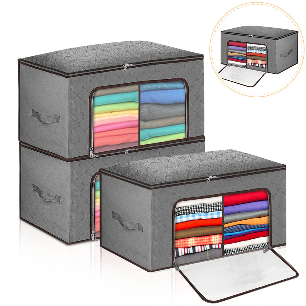 3PCS Clothes Storage Bag Window Compartment Non-woven Fabric Large Capacity Clothing Storage Bag