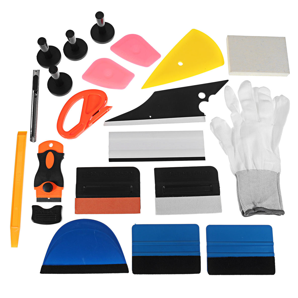 4 Magnets Squeegee Bag Gloves Razor Scraper Car Tint Vinyl Wrapping Tools Kit