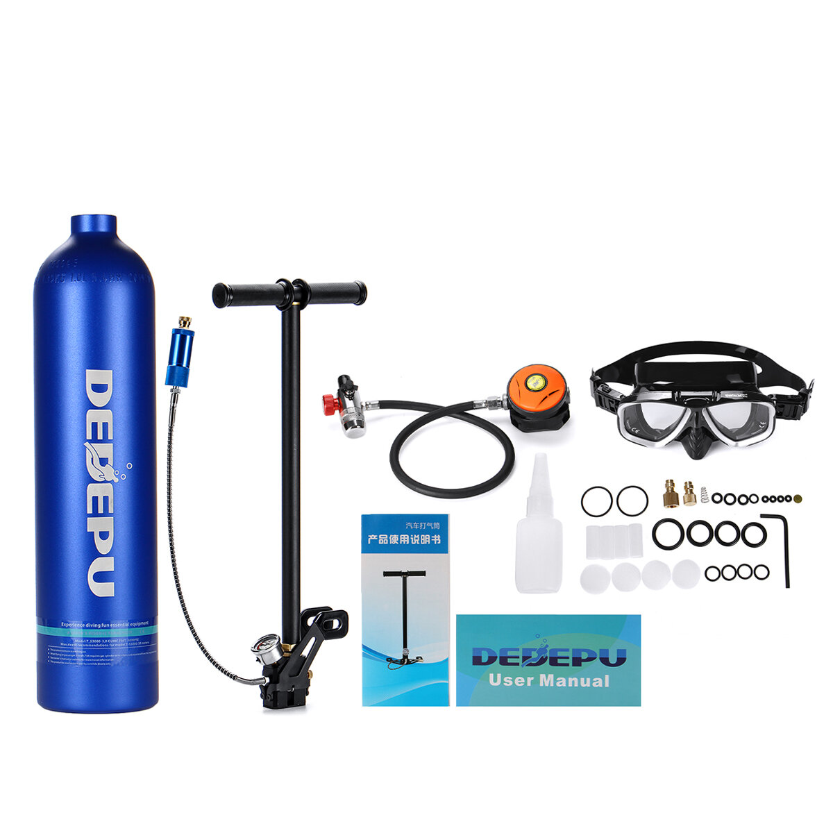 DIDEEP 1L Portable Mini Oxygen Cylinder Air Oxygen Tank Breath Diving Underwater Oxygen Cylinder фото