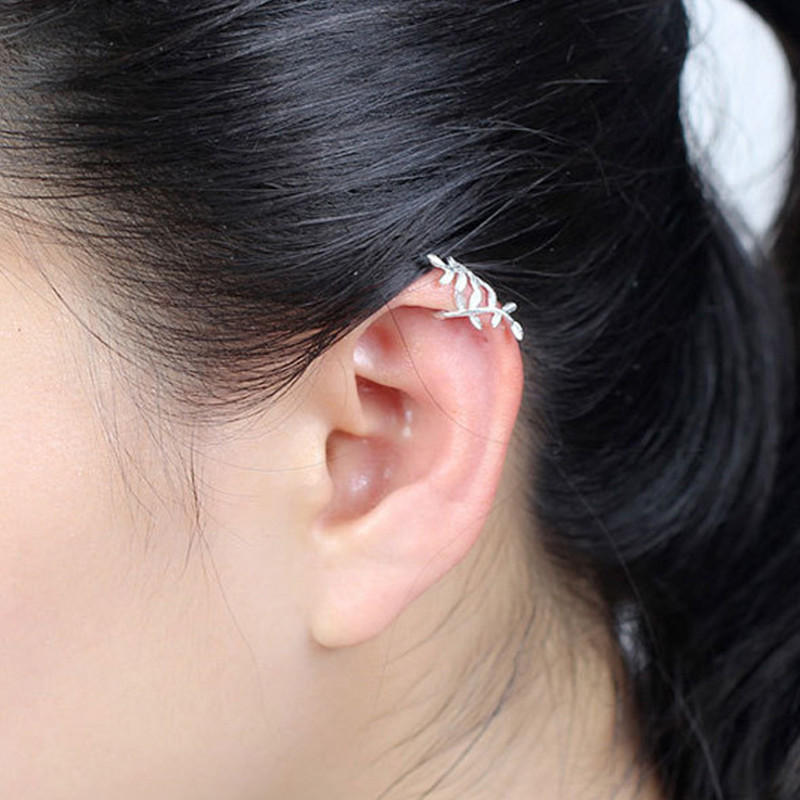 5884aff1190 Fashion 925 Sterling Silver Wrap Leaf Cartilage Earrings No Piercing Ear  Climber Earring for Women