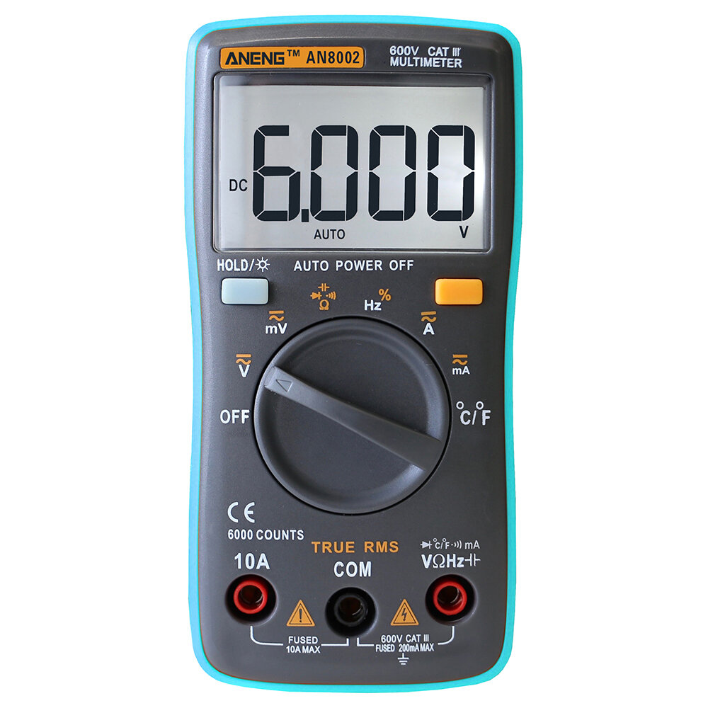 aneng an8002 digital true rms 6000 counts multimeter ac/dc current voltage  frequency resistance temperature
