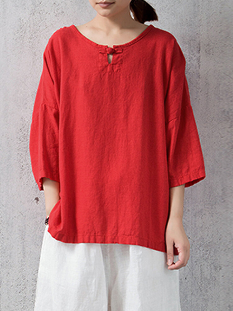 S-5XL Mulheres Casual Plate Buckle 3/4 Blusa De Manga