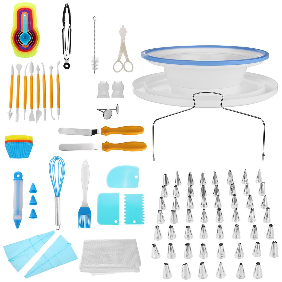 118 PCS Công cụ trang trí bánh Set DIY Mẹo đường ống Bánh xoay Bàn xoay Bánh đứng Pastry Faucet Công cụ làm bánh