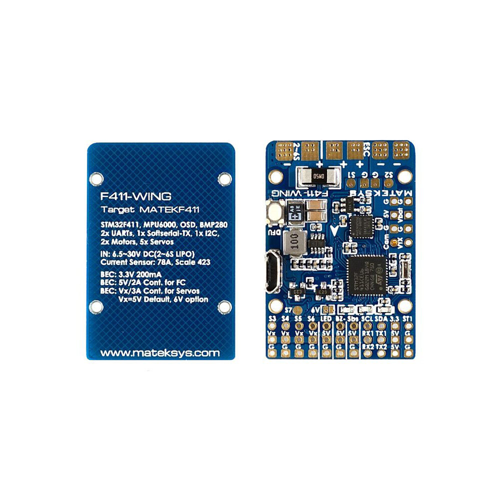 Matek Systems F411-WING (New) STM32F411 Flight Controller Built-in OSD for RC Airplane