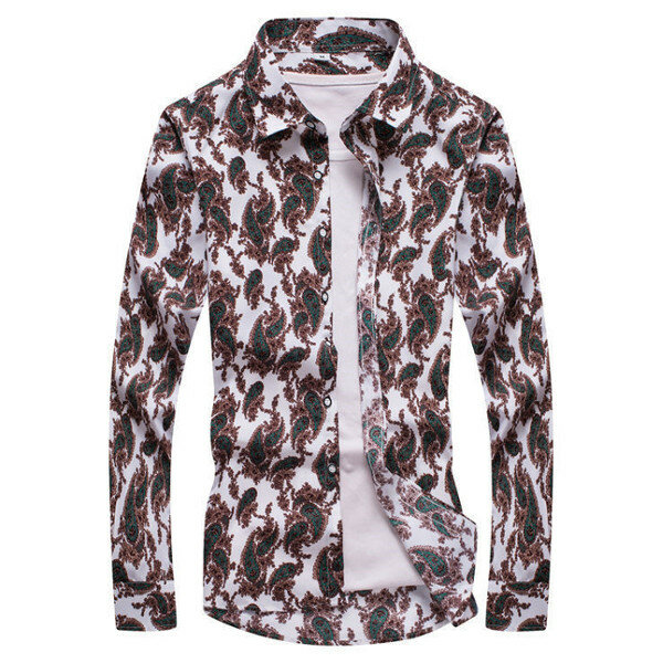 Mens Floral Printing Shirts Fashion Slim Fit Casual Long Sleeve Shirts
