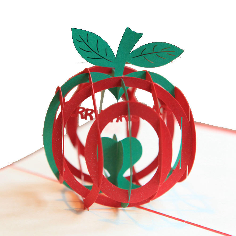 Christmas Apple Shape 3D Pop Up Greeting Card Christmas Gifts Party Greeting Card