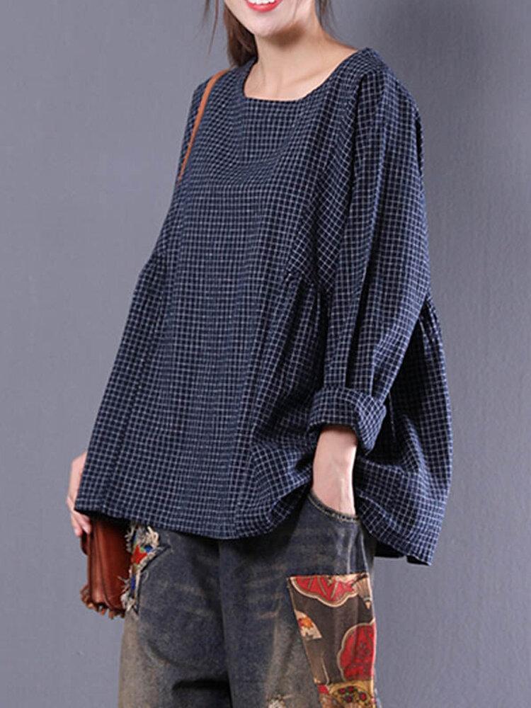 Women Vintage Long Sleeve Crewneck Plaid Loose Blouse
