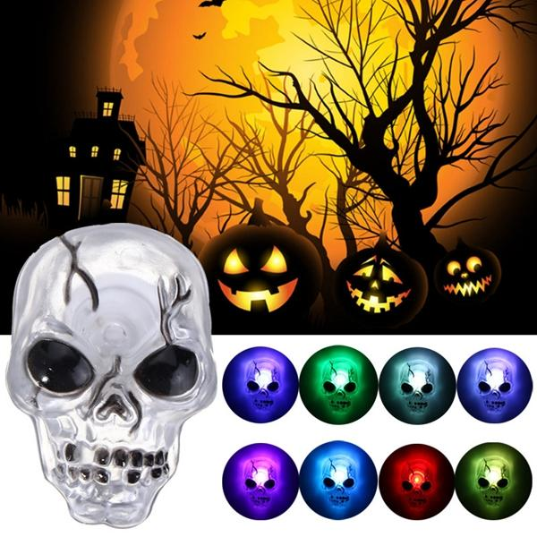 Color Changing LED Skull Night Light Sucker Halloween Party Home Decor