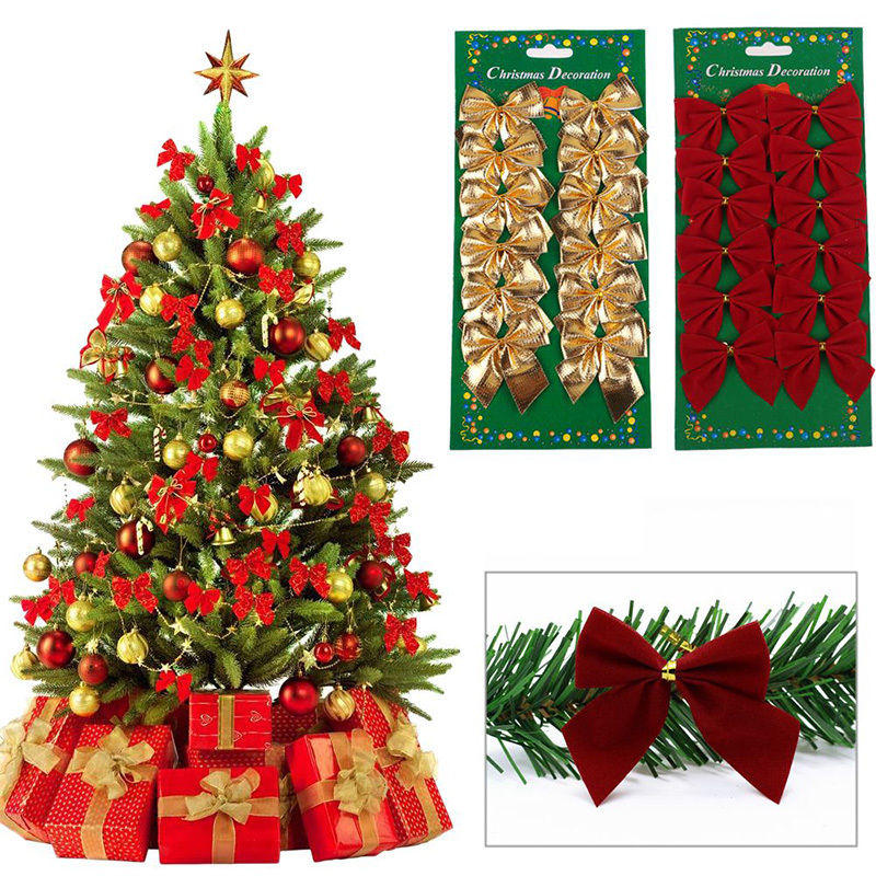 Honana Cf 461 12pcs Gold Red Silver Christmas Tree Bow Knot Decorations For Home Bauble New Year Decoration