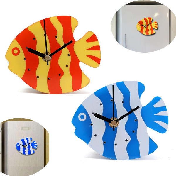 Magnet Quartz Clock Refrigerator Wall Clock Fish Design Creative Home Decor