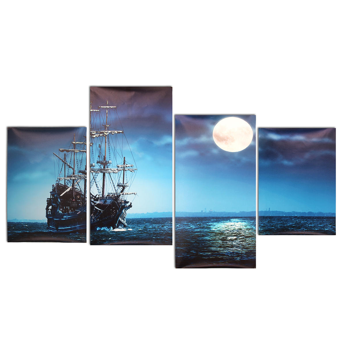 Modern Canvas Print Painting Picture Home Decor Blue Sea Boat Wall Art Framed Paper