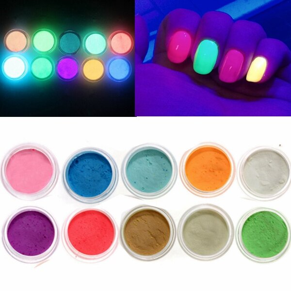 10 Warna Bersinar Dalam Gelap Nail Fluorescent Tattoo Acrylic Powder Decoration