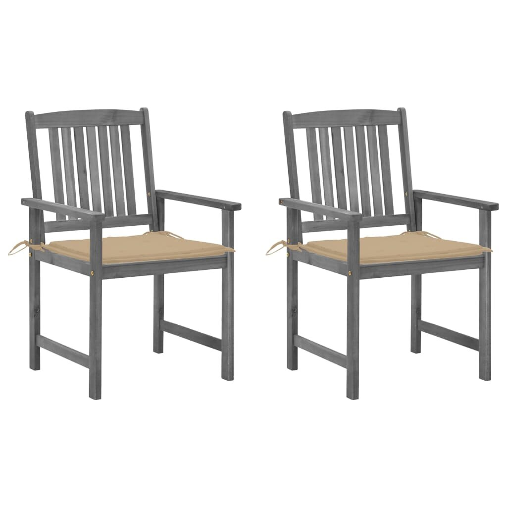 Director's Chairs with Cushions 2 pcs Gray Solid Acacia Wood