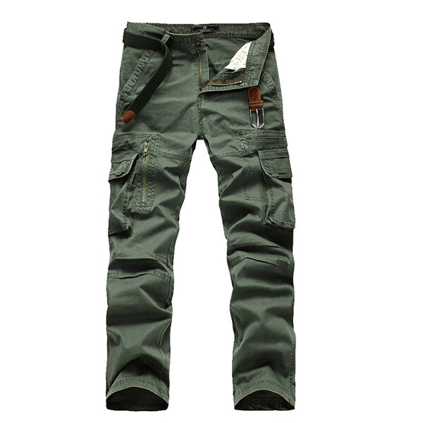 4375a27a79 Men's Retro Big Pocket Cargo Pants Casual Straight Leg Cotton Trousers -  Khaki 30 COD