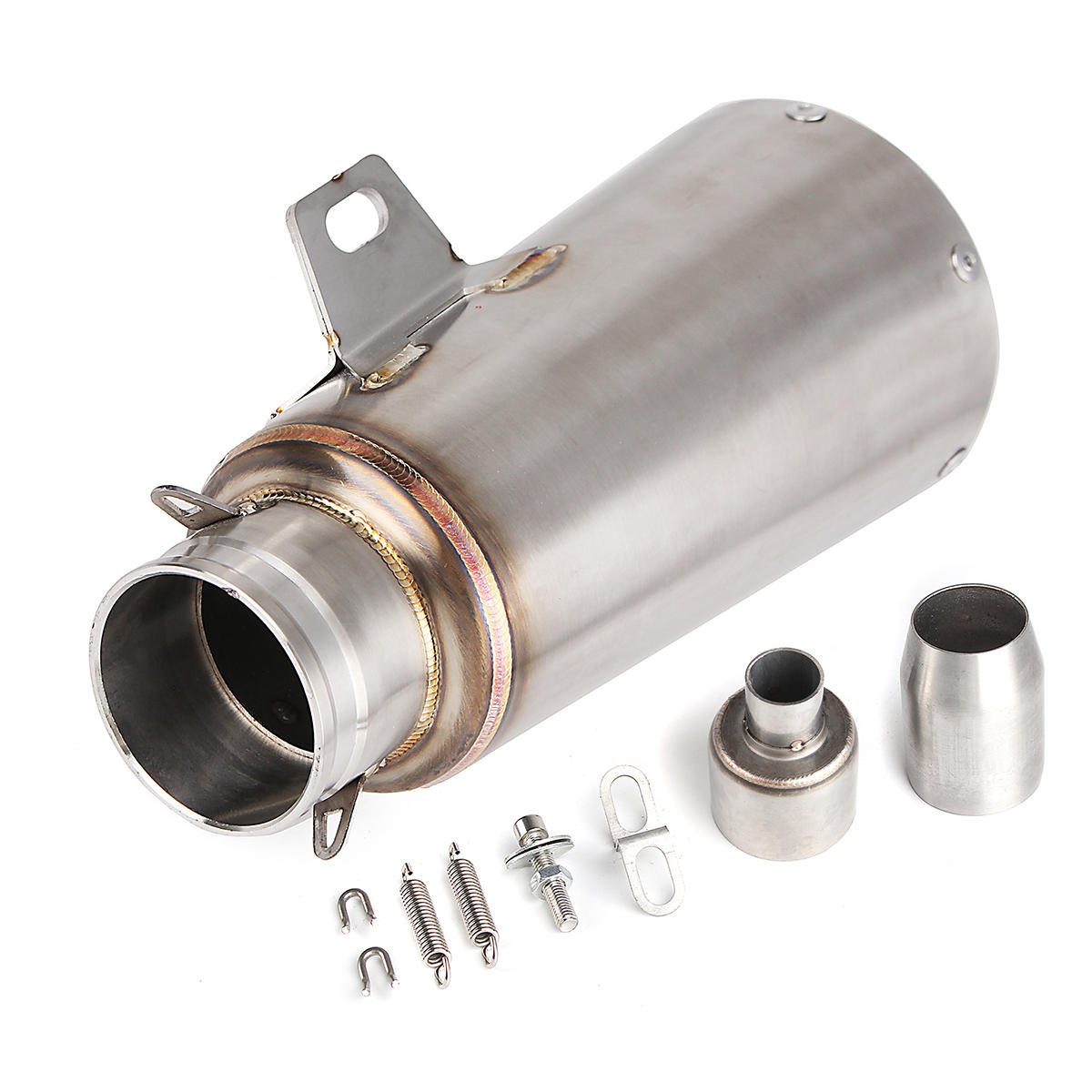 38-51mm Motorcycle Exhaust Muffler Pipe Silencer Slip-On Scooter Stainless Steel Back Pressure