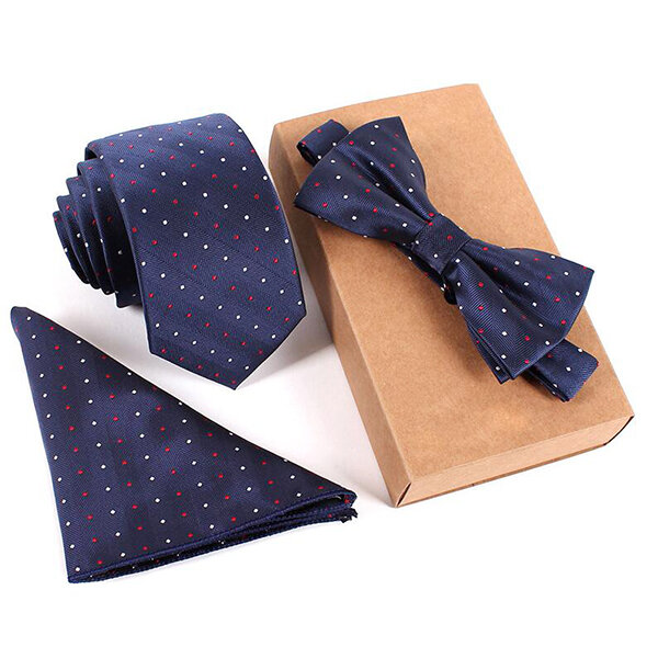 Mens Fashion Business Tie Sets Neck Tie Bow Tie Pocket Square Towel 3 Pieces Party Tie