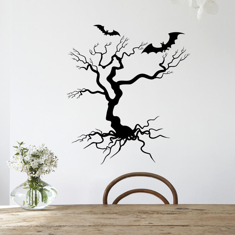 Hallowen Tree Glass Window Decor Wall Sticker Party House Home Decoration Creative Decal DIY Mural Wall Art Sticker