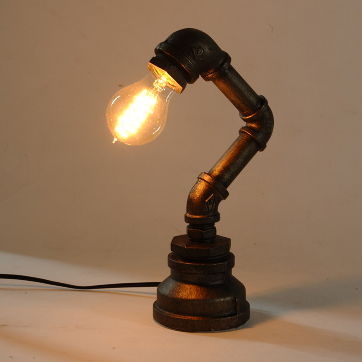 E27 Vintage Industrial Retro Iron Pipe Table Desk Lamp Light AC110-240V, Banggood  - buy with discount