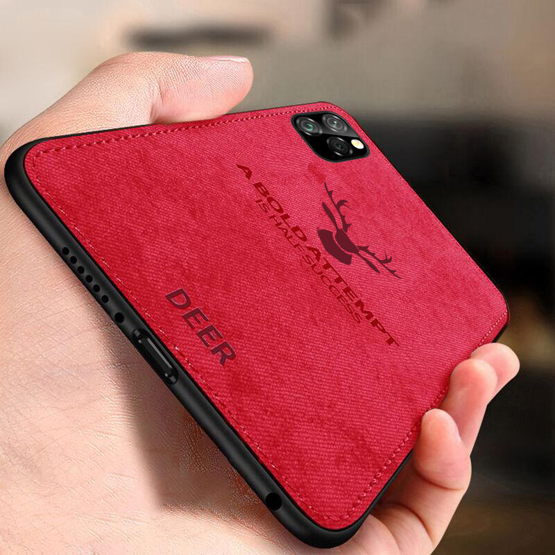 BAKEEY Deer Canvas Cloth Shockproof Protective Case for iPhone 11 Pro 5.8 inch