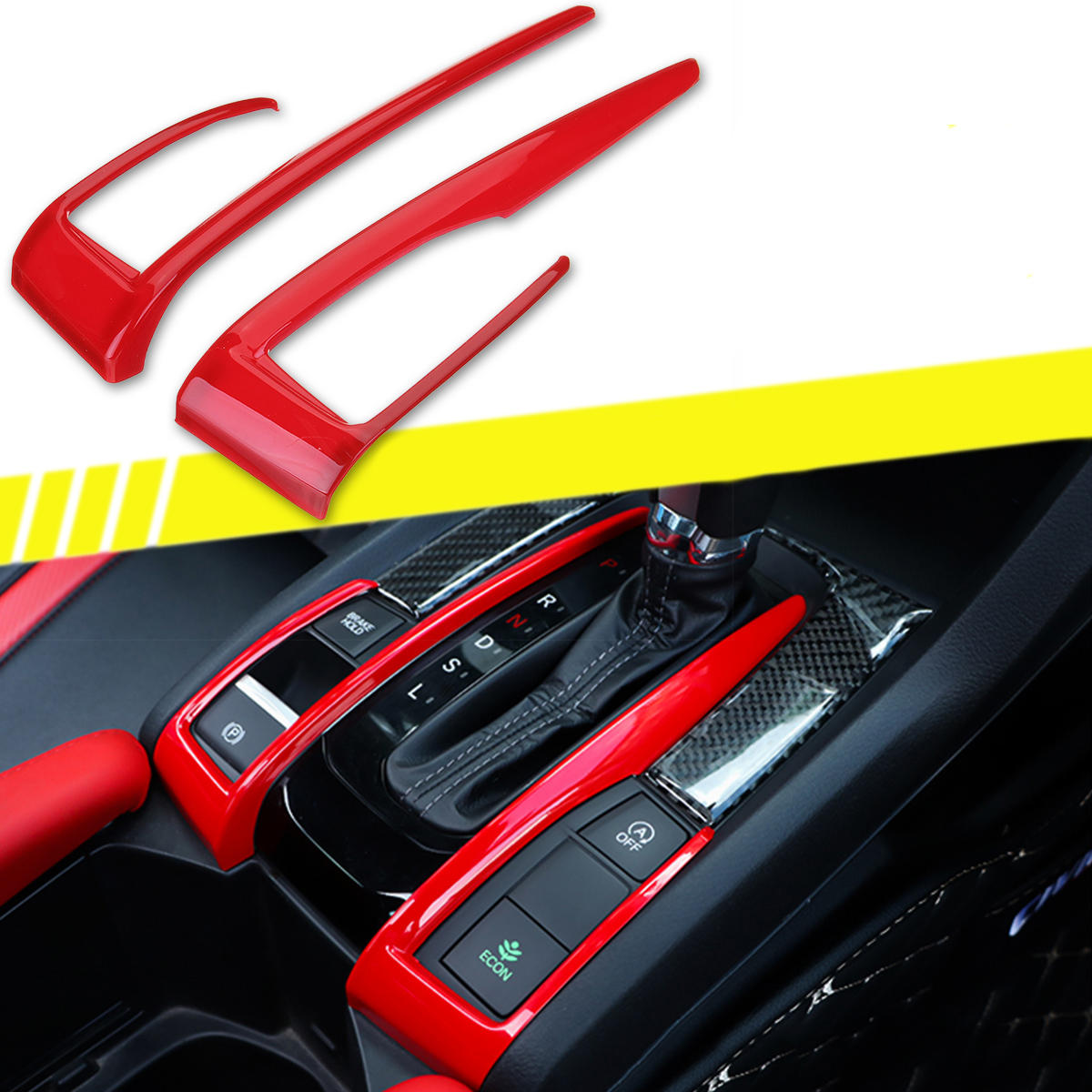 For Honda Civic 10th 2016-2018 ABS Red Interior Gear Shift Frame Cover Trim 2PCS