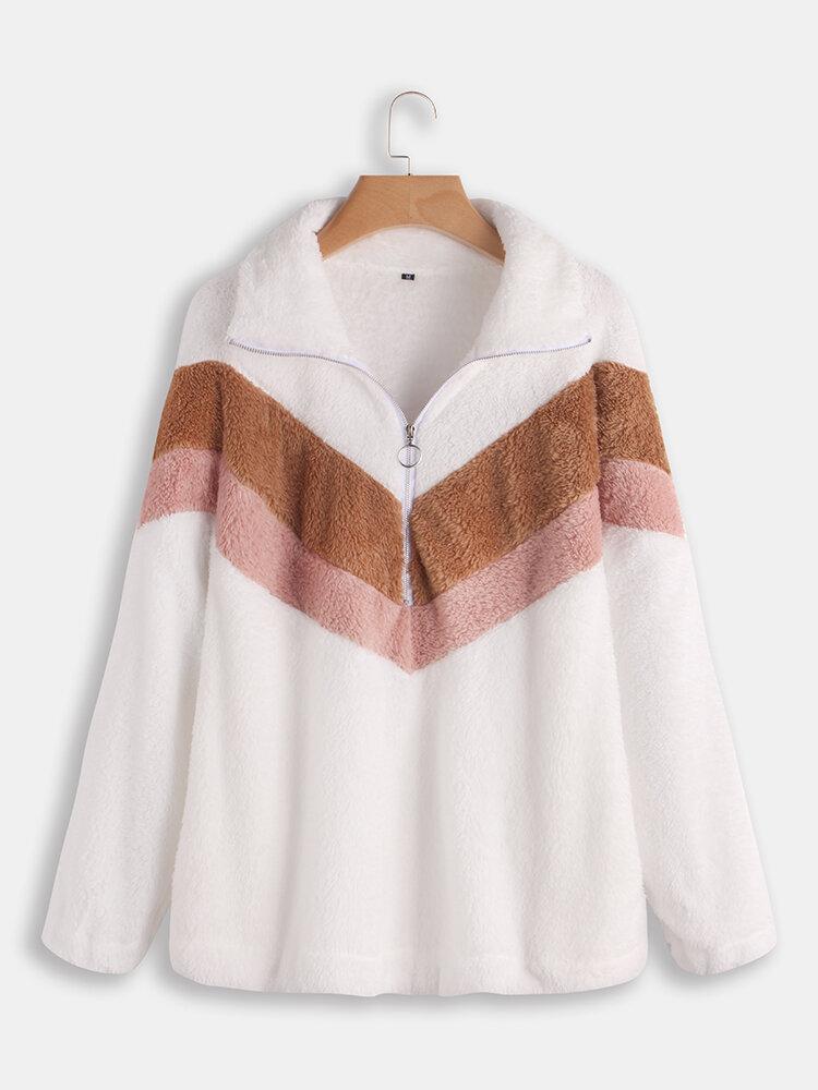 Women Long Sleeve Color Patchwork Hoodies Casual Sweatshirt