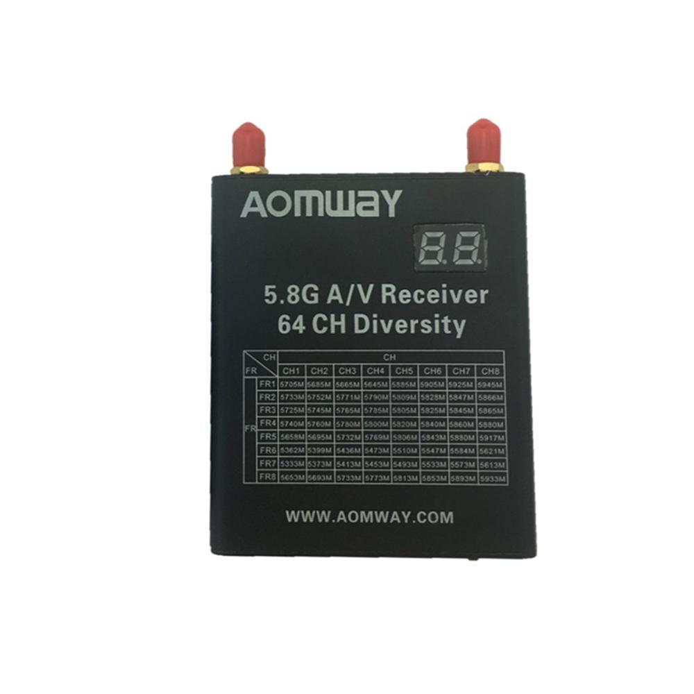 Aomway DIV006 V4 DVR 5.8G 64CH Raceband FPV Receiver Built-in DVR w / Fungsi Simpan Otomatis