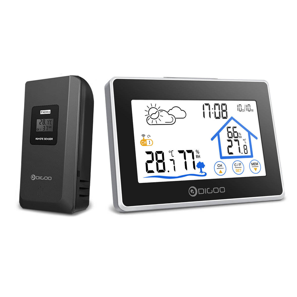 Digoo DG_TH8380 Wireless Thermometer Hygrometer Touch Screen Weather Station With Thermometer Outdoor Forecast Sensor Clock