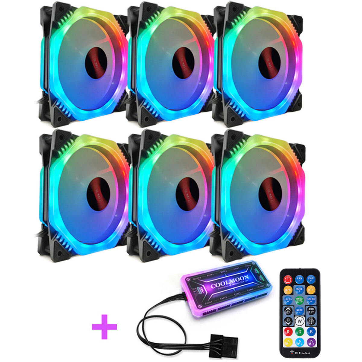 Coolmoon 6PCS 5V 3Pin Adjustable RGB LED Light Computer Case PC Cooling Fan with Remote
