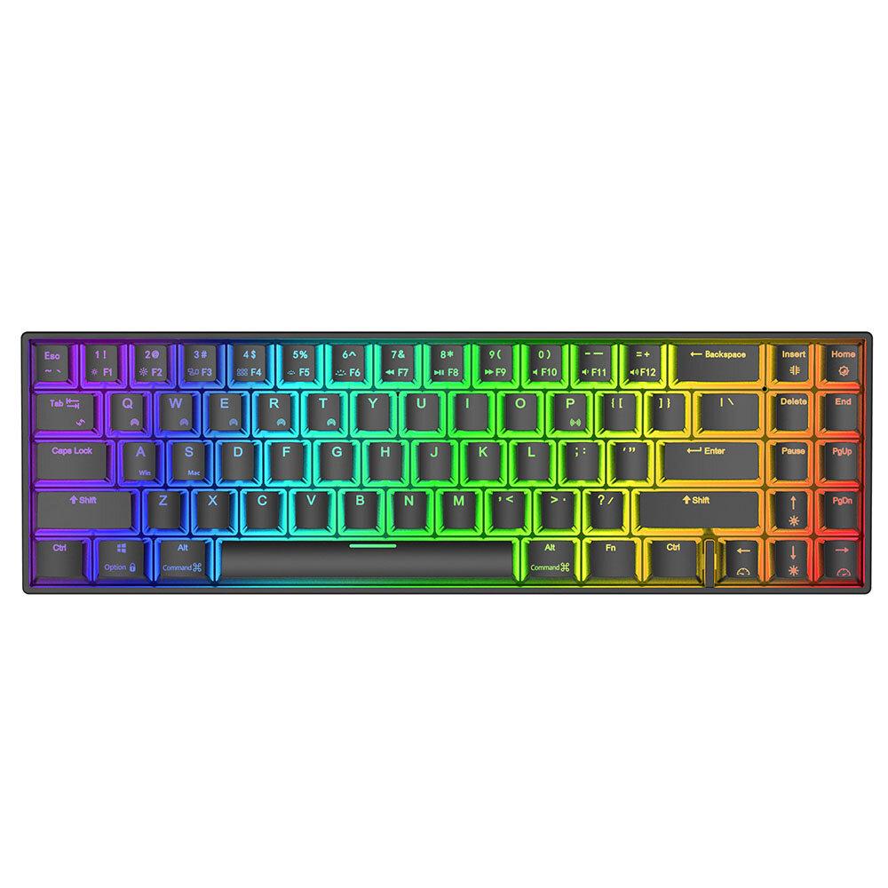 Royal Kludge RK71 71 teclas Dual Mode bluetooth 3.0 + USB com fio RGB retroiluminado Mecânico Gaming Keyboard