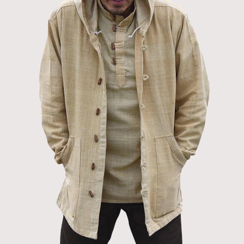 Mens סגנון וינטאג 'סינית כותנה ברדס אבזם כיס גדול Plus גודל מעילים