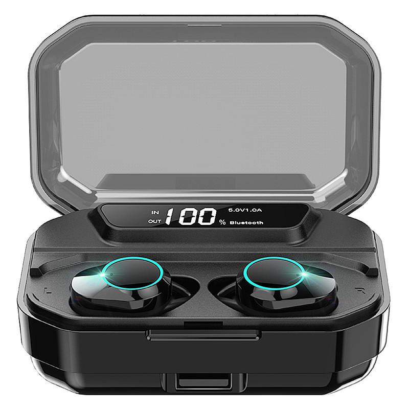 KUMI T3S Tất cả trong One TWS Tai nghe Smart Touch bluetooth 5.0 Hiển thị LED Tai nghe stereo Bass chống nước với Hộp sạc 3300mAh cho Xiaomi