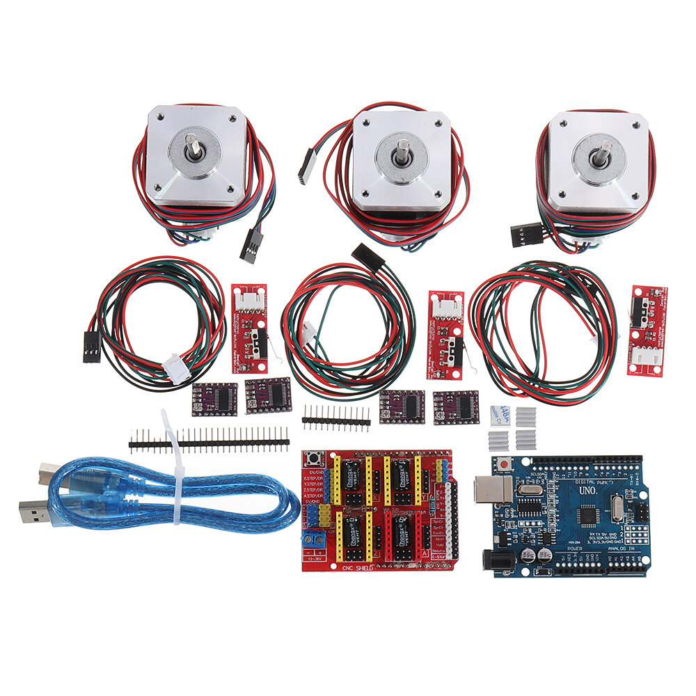 CNC Kit With UNO + Shield + Stepper Motor DRV8825 Endstop A4988 GRBL