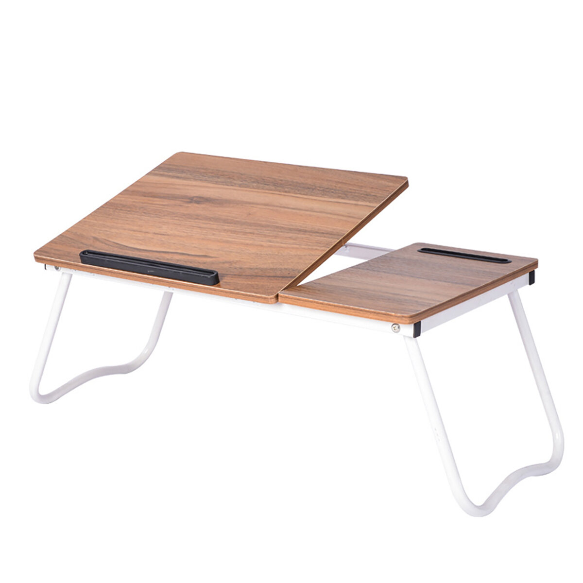 Picture of: Foldable Bed Tray 26 Inches Laptop Desk Adjustable Bed Table With Storage Slots Tablet Phone Holder For Home Office Studying Sale Banggood Com