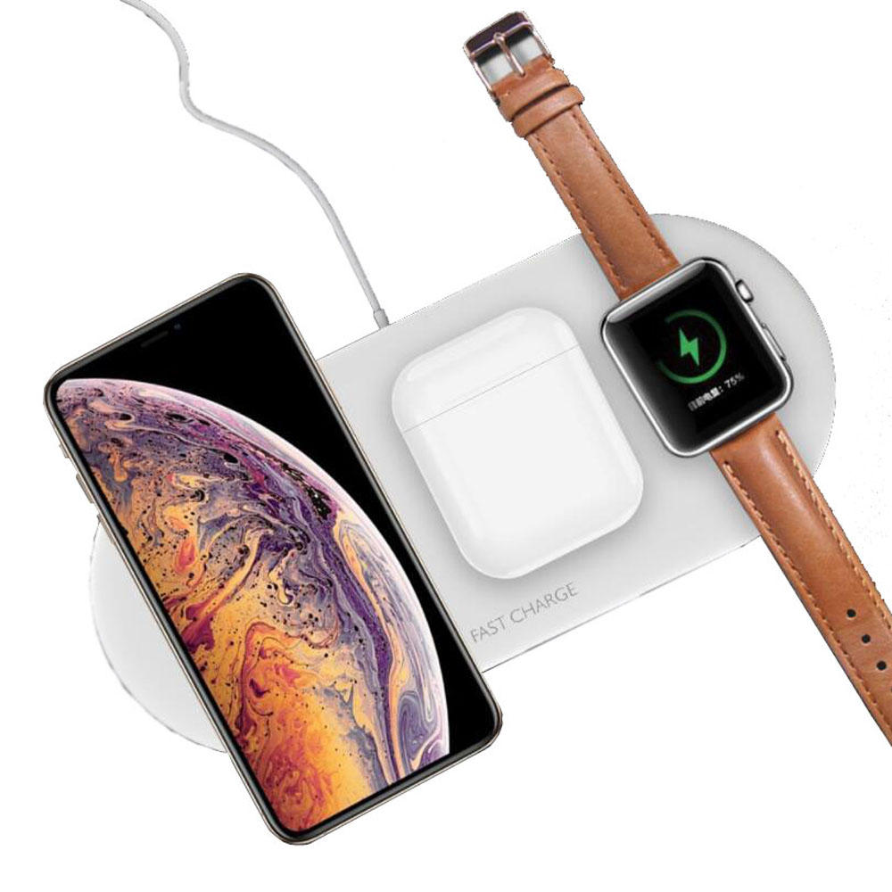 Bakeey 3 In 1 10W 5W Fast Charging Pad Wireless Charger For Watch Headset iPhone 11 XS Huawei P30 S10+ Note10 фото