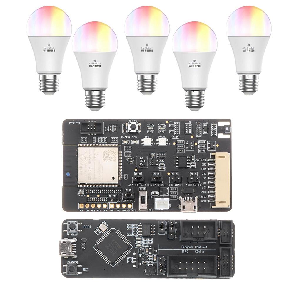 ESP32-MeshKit Suite 5xESP32-MeshKit-Light +1xESP32-Meshkit-Sense +1xESP-Prog Smart Bulb with Delopment Board for Smart Home