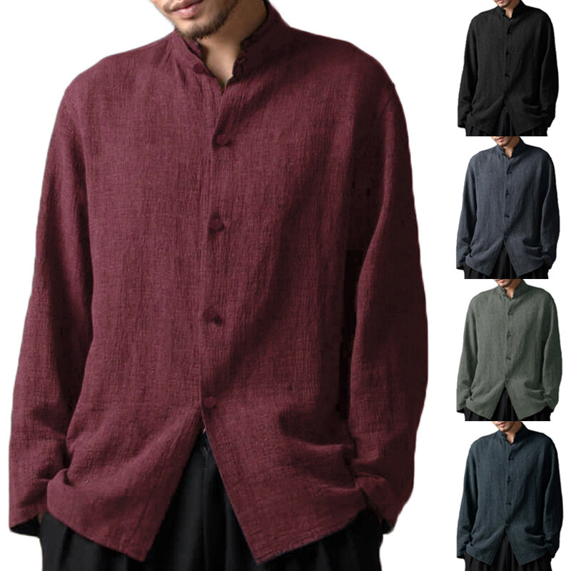 INCERUN Mens Vintage Cotton Stand Collar Long Sleeve Casual Shirts