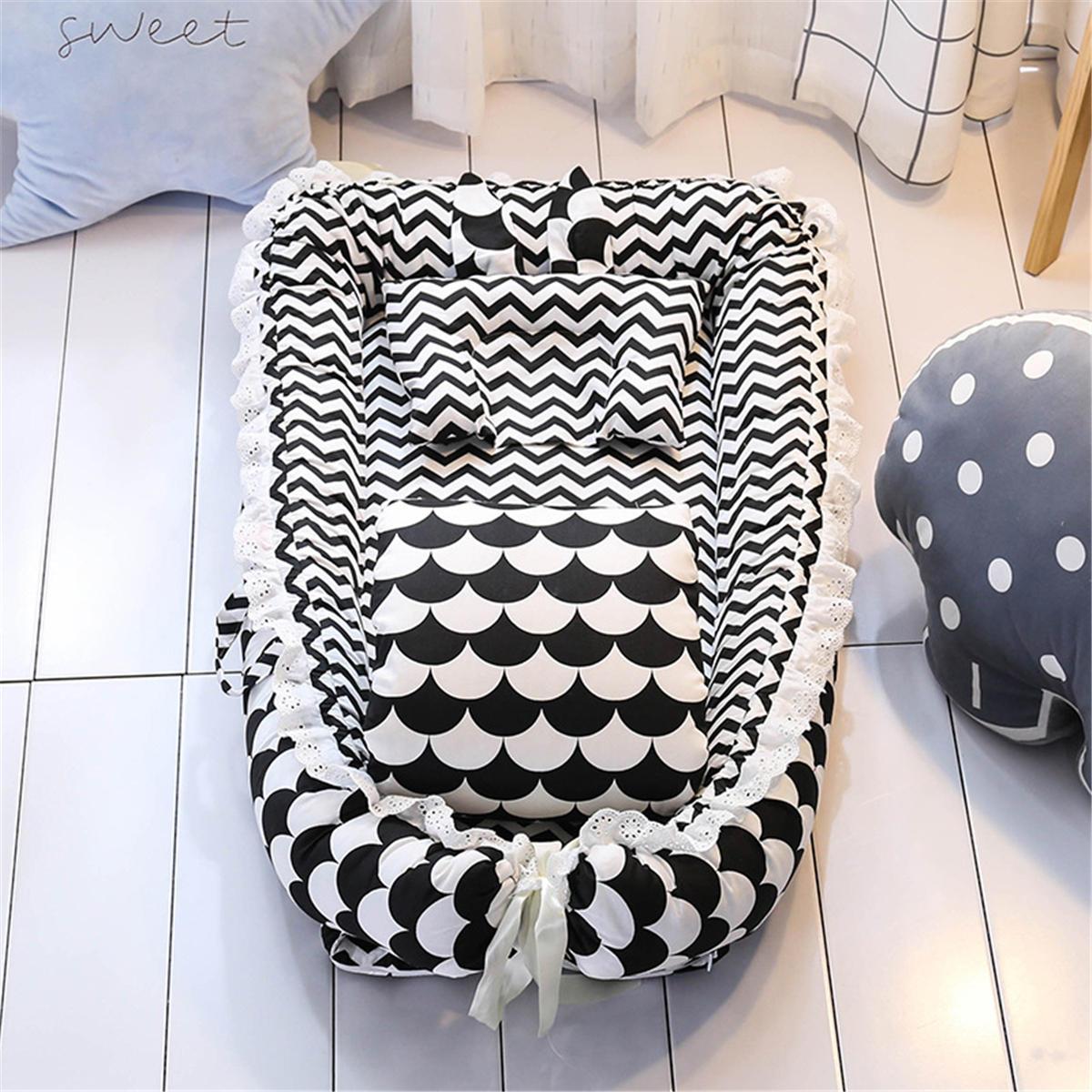 Baby Sleep Nest Bed Pillow Quilt Newborn Breathable Cotton Sleeping Cot Crib