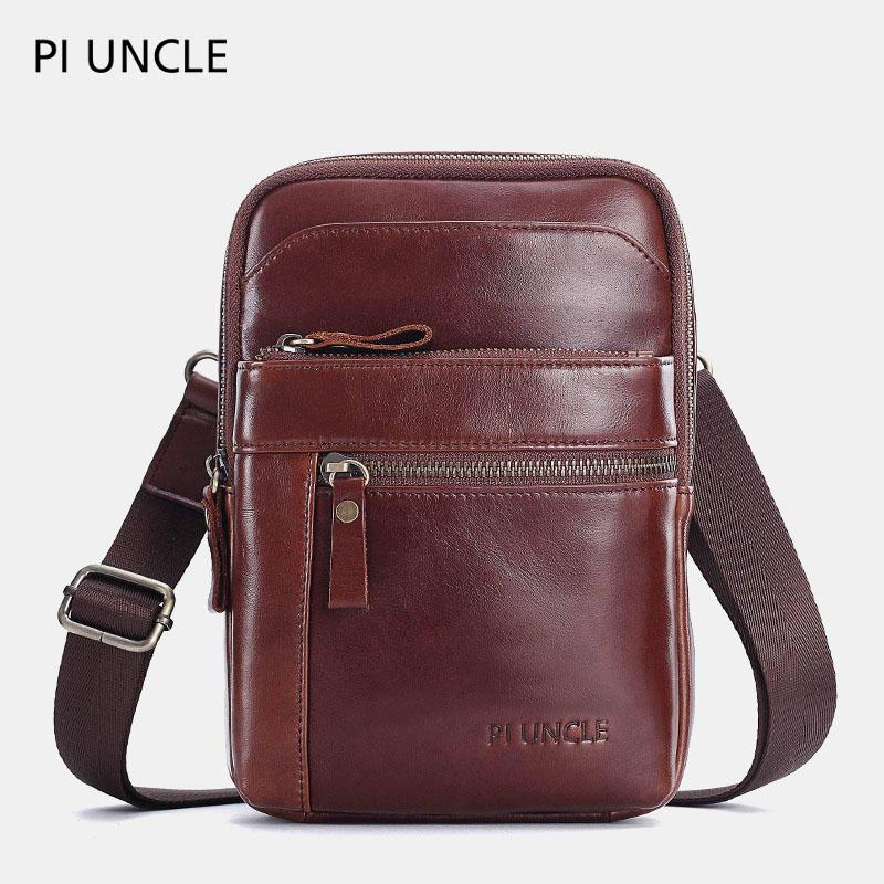 Men Genuine Leather Small Crossbody Bag Phone Bag Chest Bag Shoulder Bag