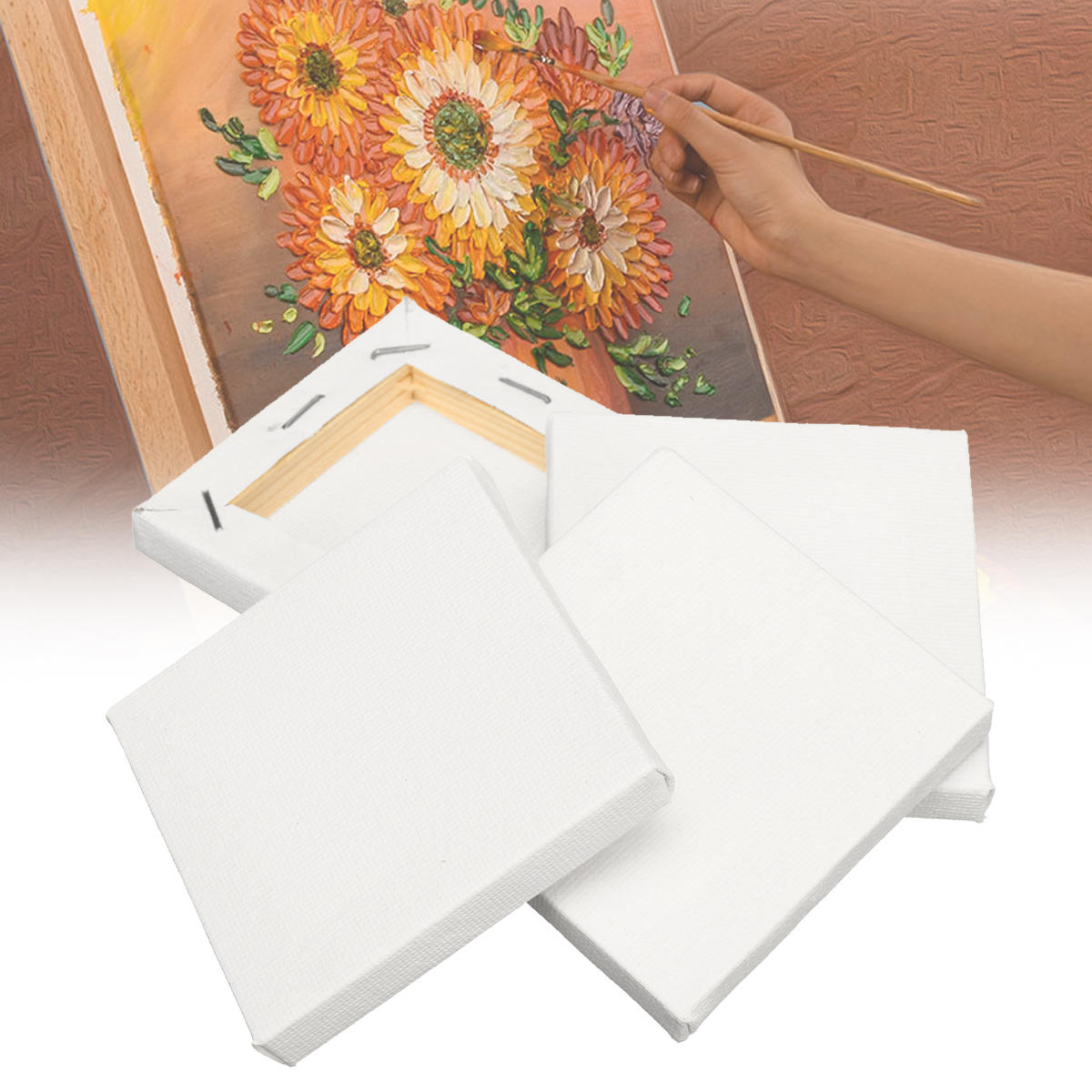 8PCS White Mini Blank Canvas Acrylic Paintings Frame Oil Paint Artist Square Art Sketch Boards Square Canvas фото