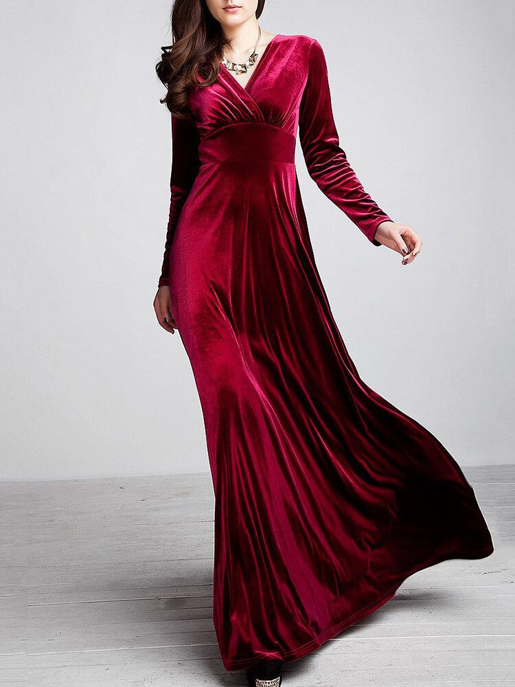 Velvet Long Sleeve V-neck Maxi Prom Dress