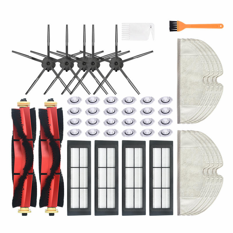 45pcs Replacements for Xiaomi Roborock Xiaowa Vacuum Cleaner Parts Accessories 5*5-arm Side Brushes 4*Filters 2*Main Bru фото
