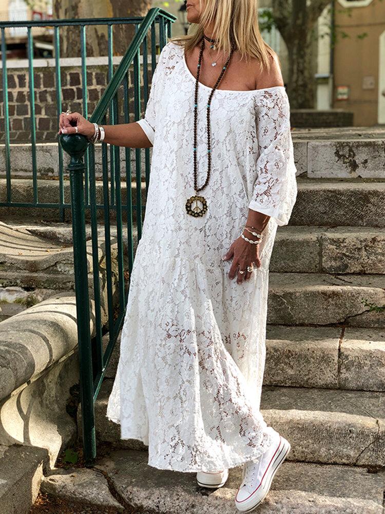 Cold Shoulder Lace Croceht Long Maxi Hollow Out Dress For Women