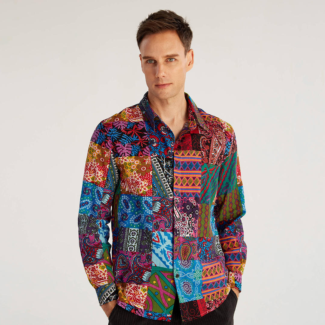 Mens Ethnic Autumn Colorful Printing Long Sleeve Casaul Shirts