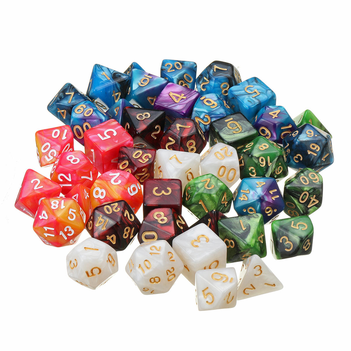 42Pcs 6 Set Polyhedral Dice with Bag For DND RPG MTG Role Playing Board Game